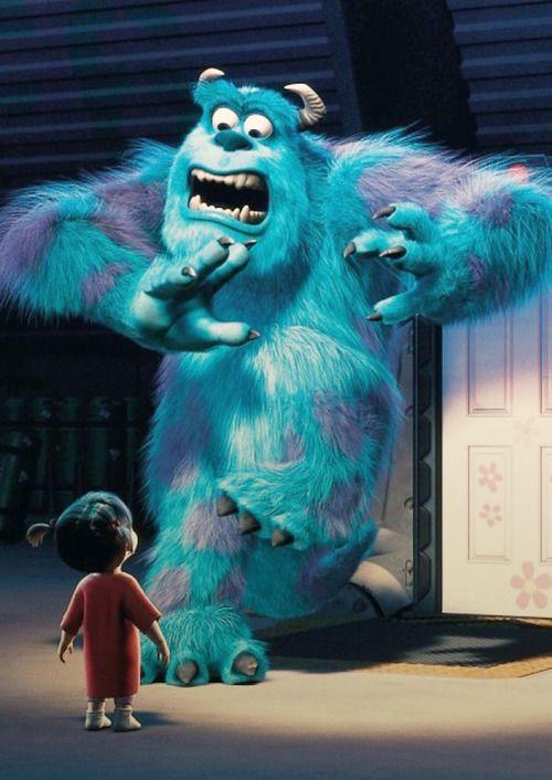 Boo sulley monsters inc pixar sfondo cartone animato