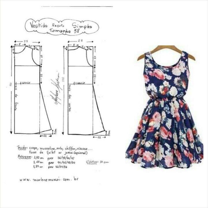 vestido | Patrones de costura | Pinterest | Vestiditos, Costura y Molde