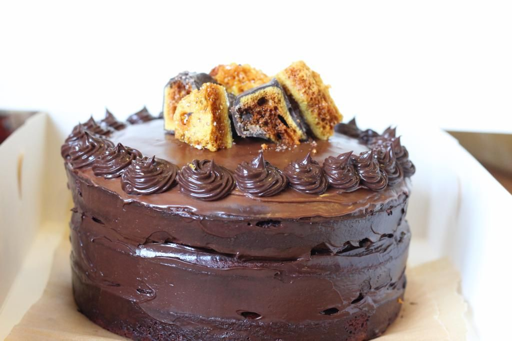 Decadent triple chocolate cake filled with