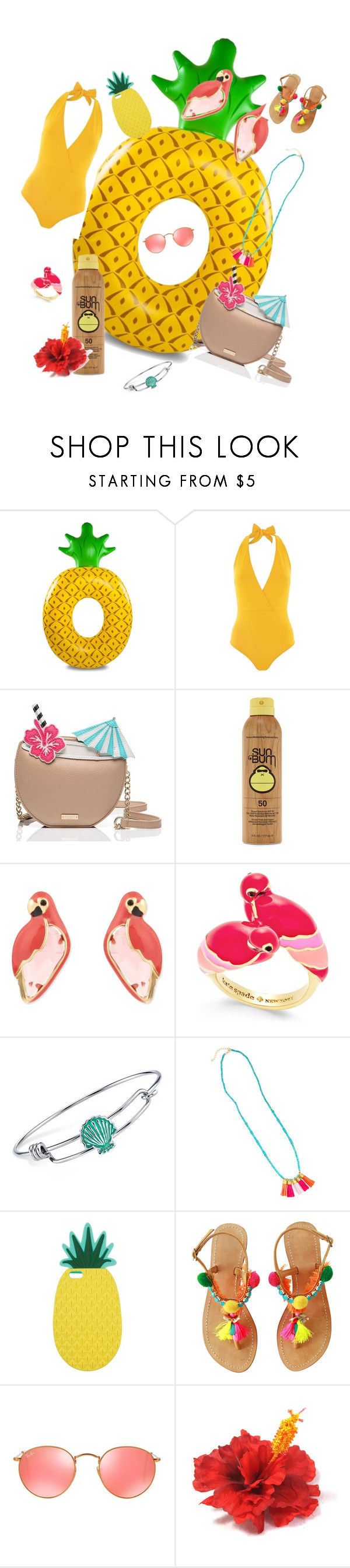 """""""Pineapple Paradise"""" by missmackenzied ❤ liked on Polyvore featuring Lazul, Kate Spade, Forever 21, Disney, Miss Selfridge, Ray-Ban and poolfloats"""