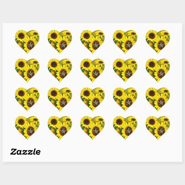 Sunny Sunflowers Heart Sticker Zazzle Com Heart Stickers Sunflower Hearts Custom Holiday Card