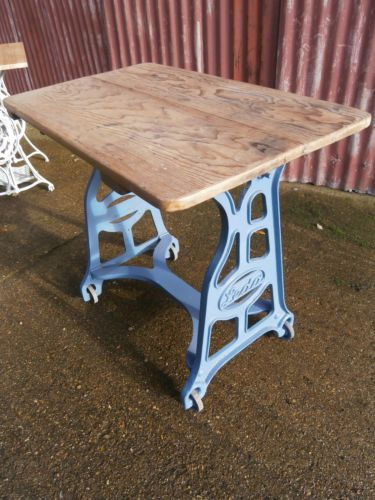 cast iron mangle table or desk butcher block similar to a singer rh pinterest com