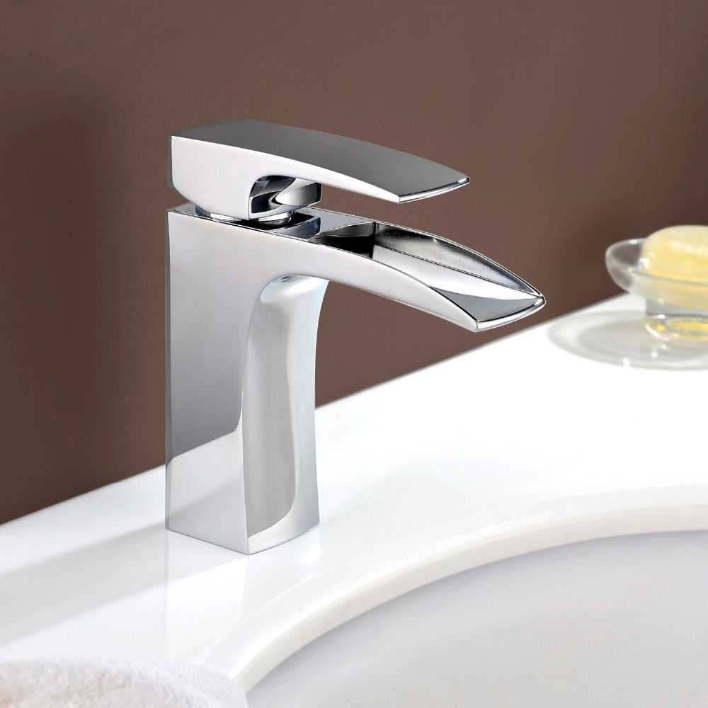 Waterfall Faucet Cpmtemporary Deck Mounted Bathroom Sink Hot and ...