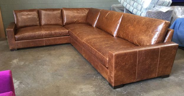 Braxton Raf Leather L Sectional Sofa With Bench Cushion Configuratoin In Brompton Clic Vintage