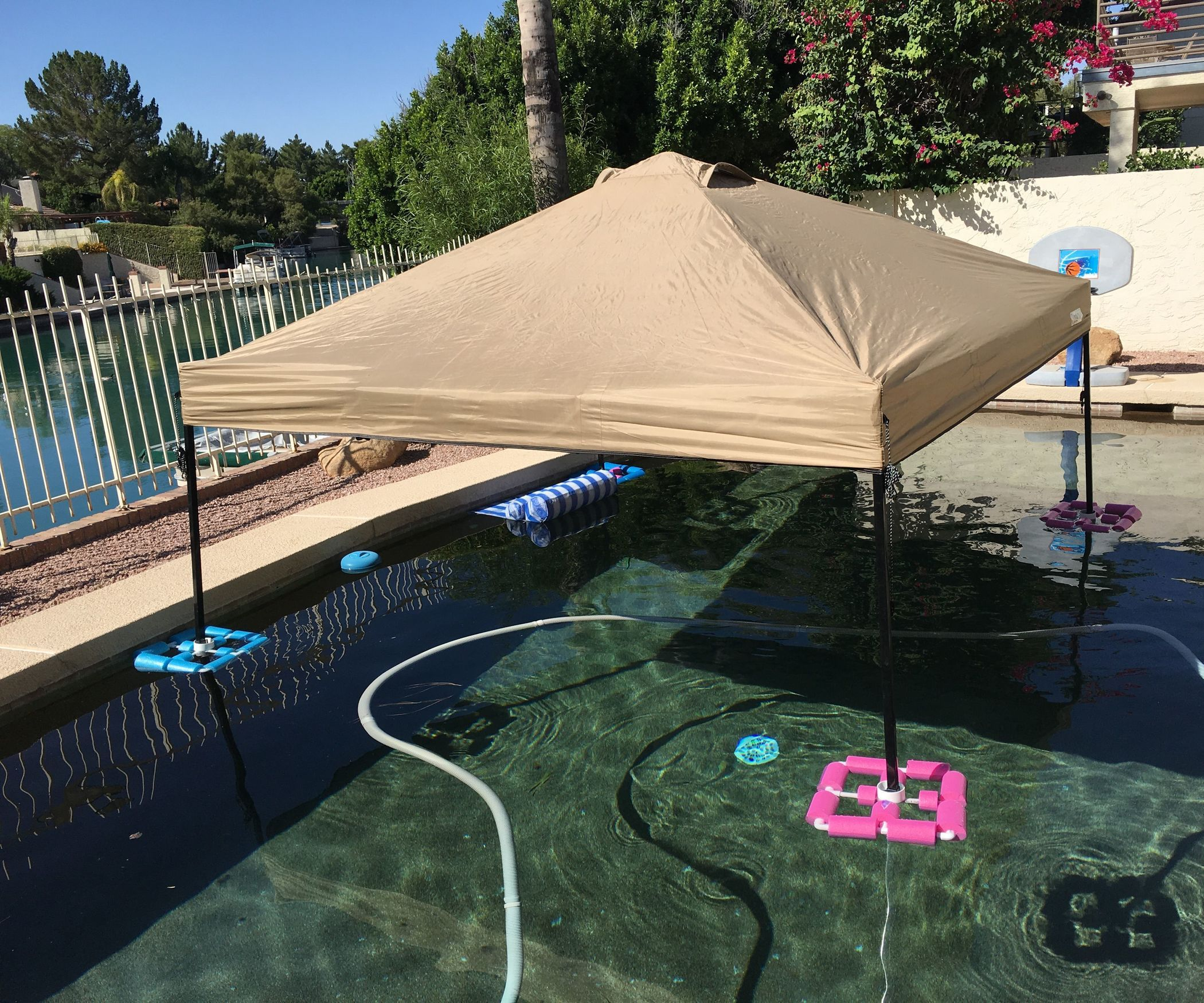 Canopy Gazebo Also Known As A Ez Up Float For The Pool Or Lake For Cheap Pool Shade Pool Canopy Diy Gazebo
