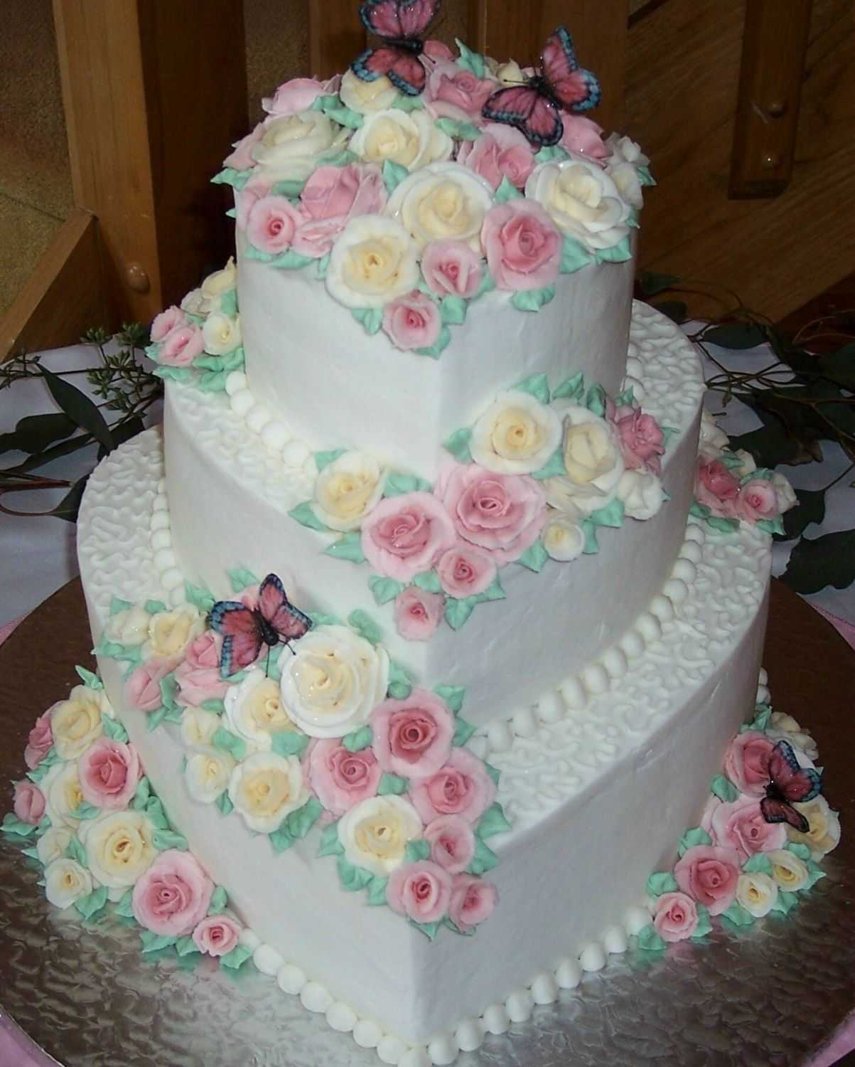 Butterfly rose garden other mixed shaped wedding cakes