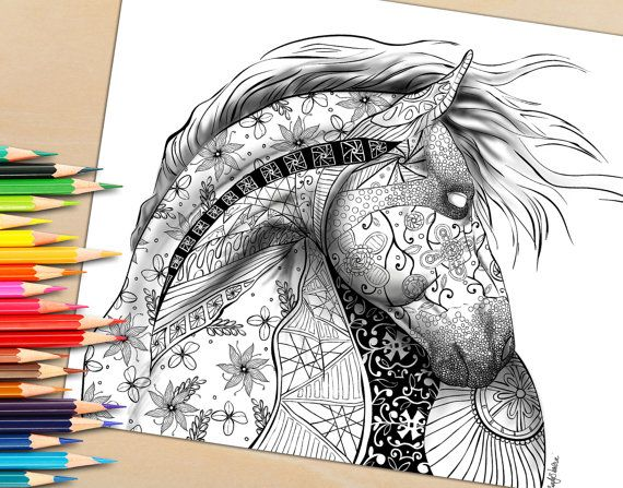 if you love horses and love coloring youll love this coloring page hand drawn