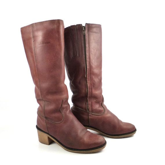 e9f00447d11f2 Campus Leather Boots Vintage 1970s LL Bean Blondo brown Cowboy Boots ...