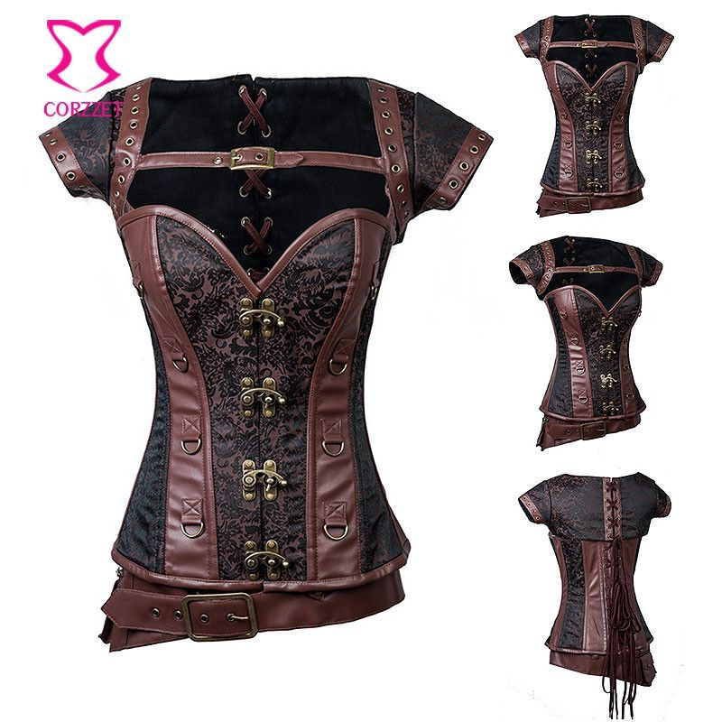 Black Vintage Gothic Clothing Plus Size Corsets And Bustiers Burlesque  Costume Steel Armor Steampunk Corset With Shoulder Bolero c09edabf8509