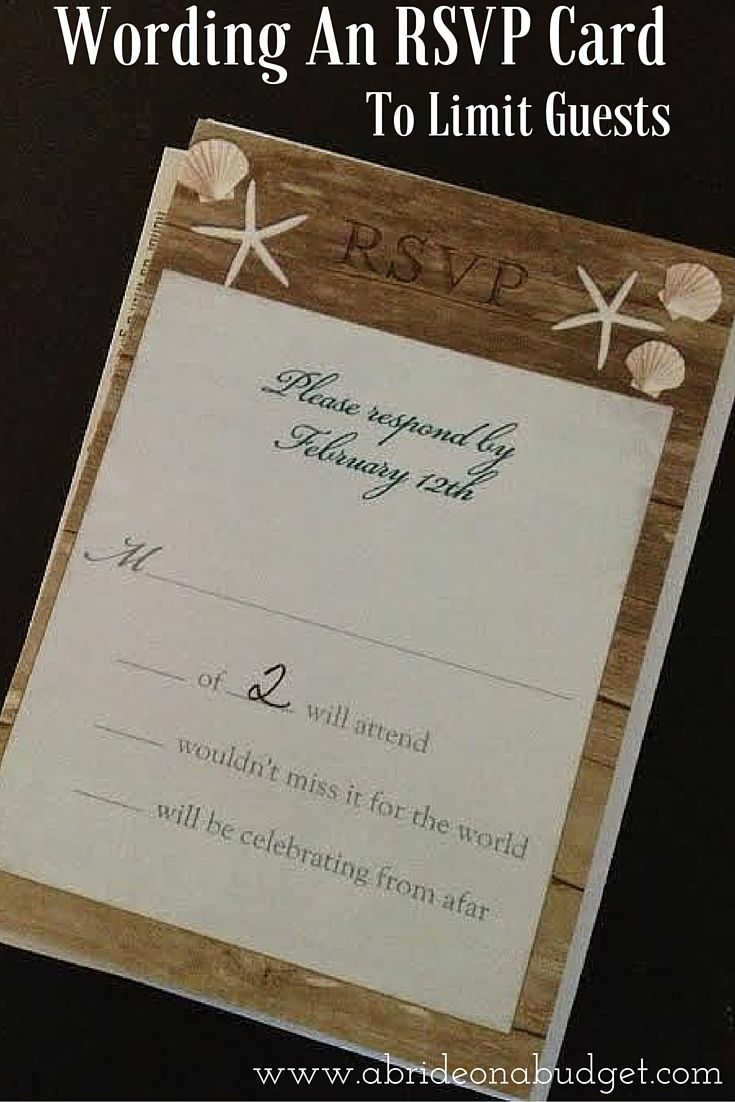 Wording An RSVP Card To Limit Guests Rsvp wedding cards