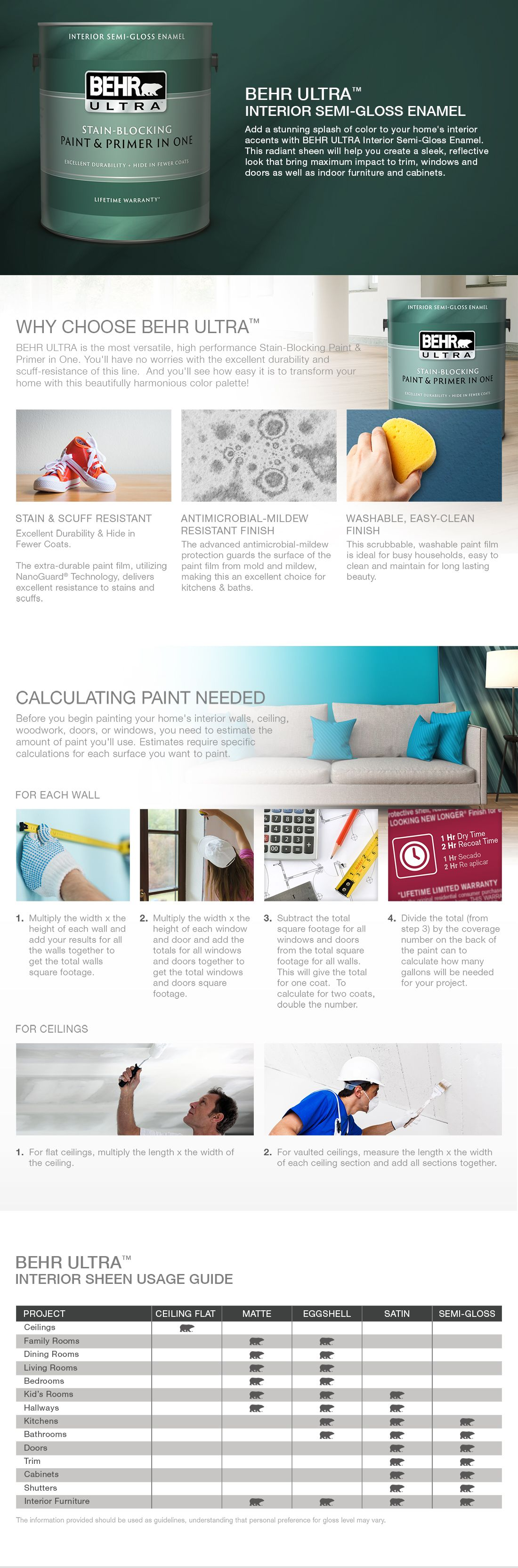 Behr Ultra 1 Gal 75 Polar Bear Semi Gloss Enamel Interior Paint And Primer In One 375001 In 2020 Interior Paint Home Depot White Ceiling Paint