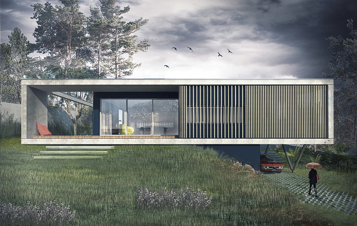 Maison contemporaine caluire en b ton sur un terrain en for Architecture scandinave contemporaine