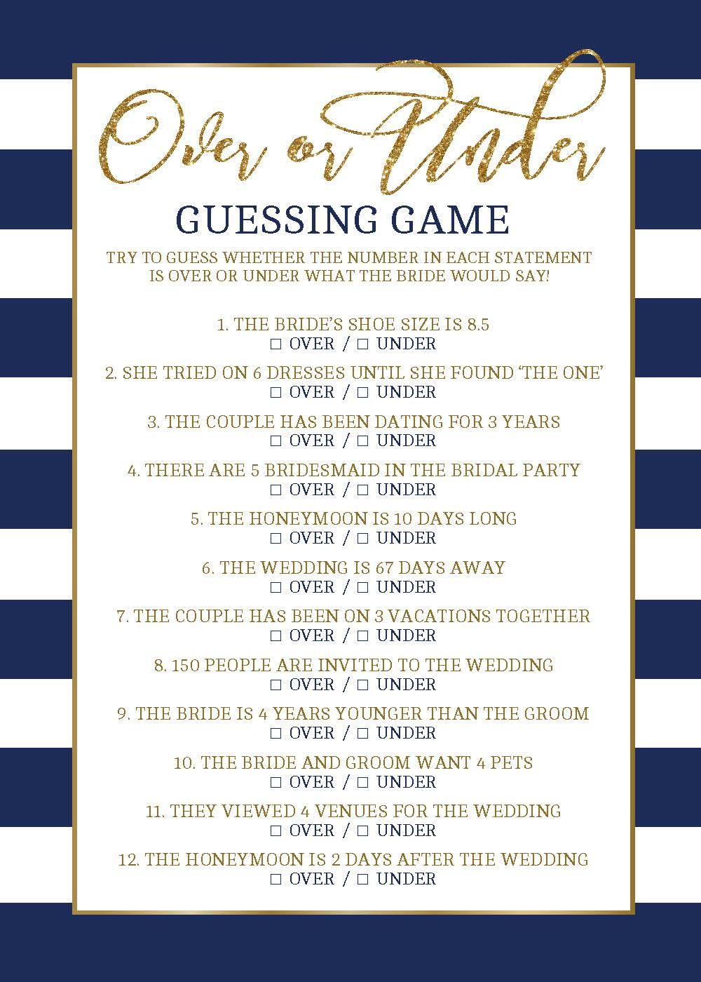 over or under bridal shower game wedding shower game bridal guessing game navy and gold bridal shower games