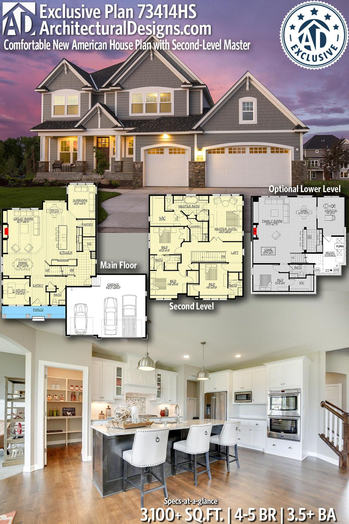Plan 73414hs Comfortable New American House Plan With Second Level Master Sims House Plans House Plans House Blueprints