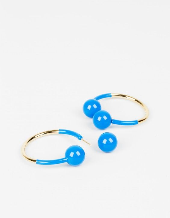 Hoop Earrings Golden brass metal and lacquer