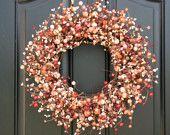 Berry Wreaths - Autumn Wreaths - Halloween Decor - Orange - Cream - Pumpkin - Door Decorations. $70.00, via Etsy.