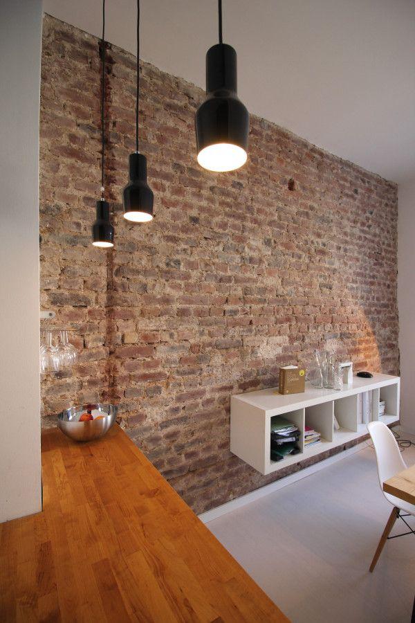 Architektur, Esszimmer, Esstisch, offene Küche, Backsteinwand