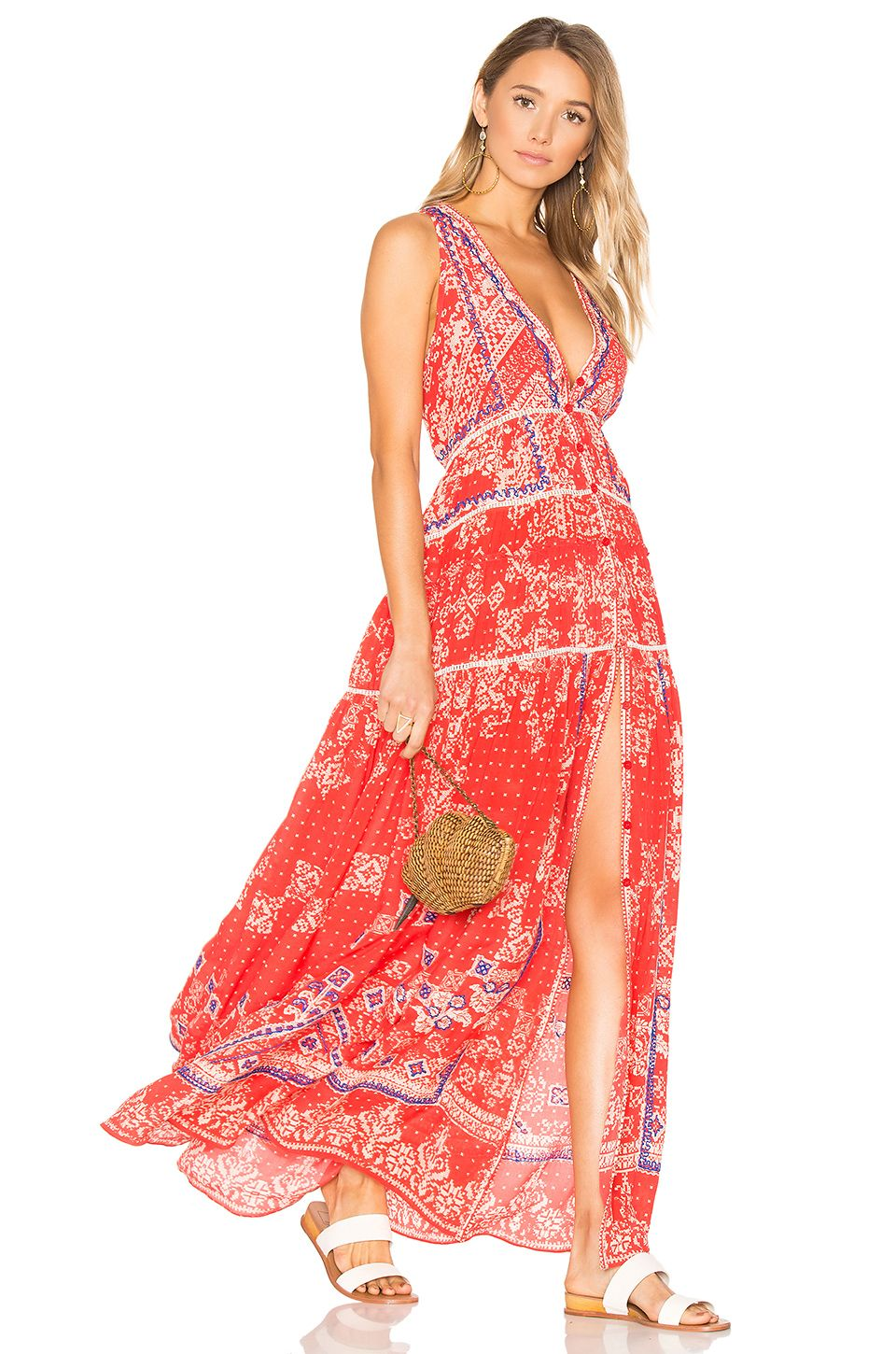 2ca11f0452 ROCOCO SAND Deep V Maxi Dress in Red