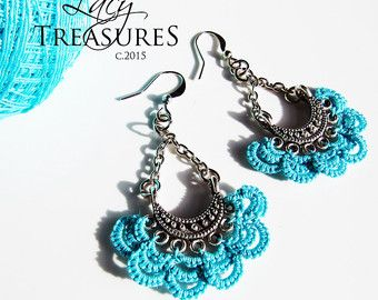 Handmade LACE Chandelier Earrings with real Brass by LacyTreasures