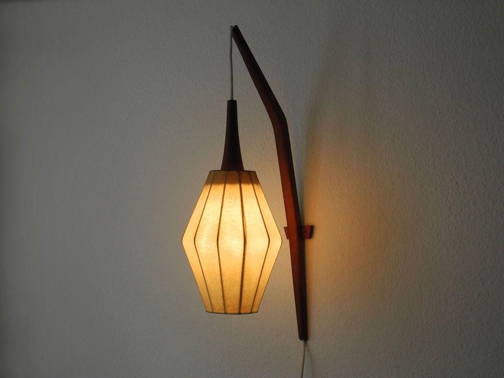 Wonderful large rare teak wall lamp with cocoon lamp shade from the wonderful big rare teak wall lamp with cocoon lamp shade from the very nice scandinavian design made in denmark aloadofball Image collections