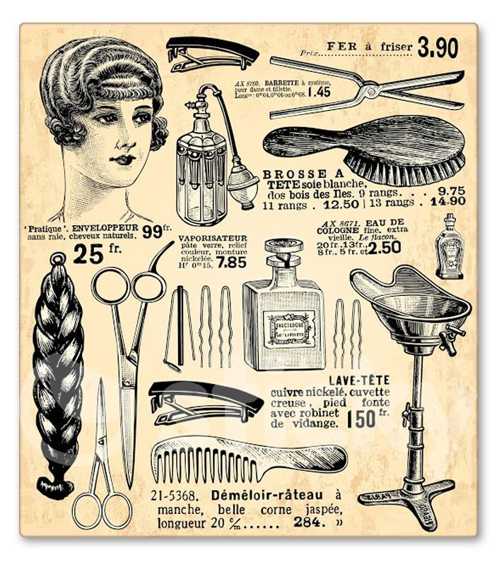 Womens Old Vintage Beauty Fashion Couture Barbershop Hair Cutting Salon Clipart Ad Image