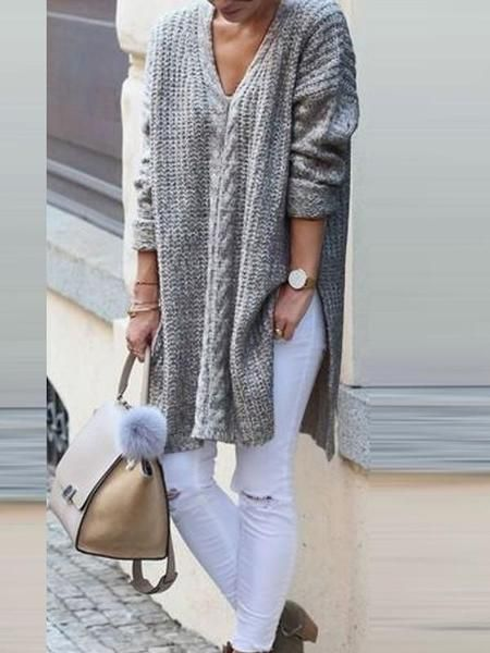 Grey Cut Out V neck Long Sleeve Fashion Pullover Sweater
