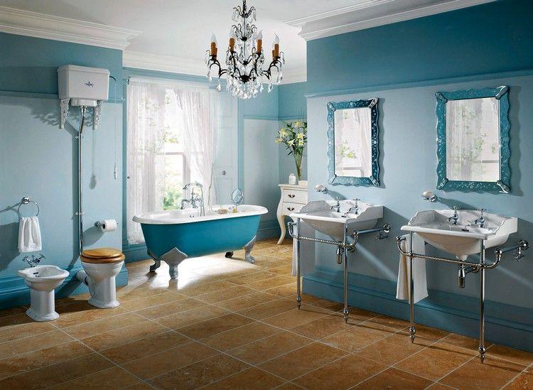 déco salle de bain rétro, peinture bleue, lavabos design et
