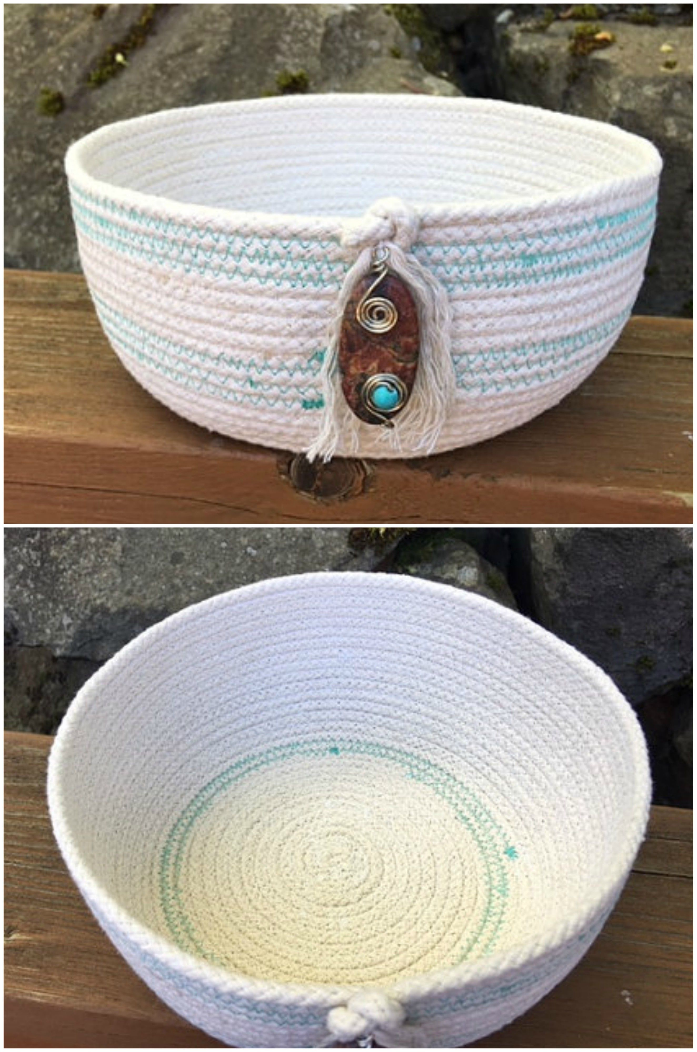 Gorgeous Coiled Rope Basket is just perfect for your farmhouse decor.  See this and other hand coiled baskets by Whippoorwill Valley here      https://www.etsy.com/shop/WhippoorwillValley/items?section_id=17232590
