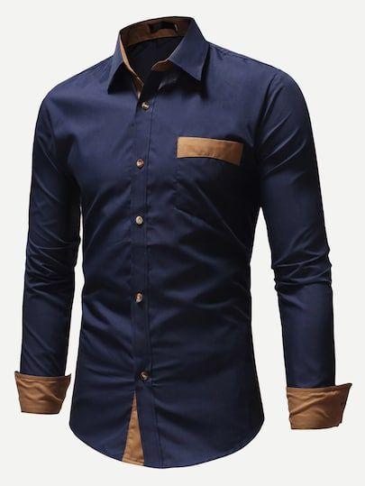 18ec684ef795 Shop Men Color Block Pocket Detail Shirt online. SheIn offers Men Color  Block Pocket Detail Shirt & more to fit your fashionable needs.