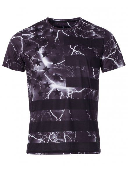 eaaa42fd2 Twisted Soul Mens Black Clinton Stars and Stripes Lightning Print T-Shirt