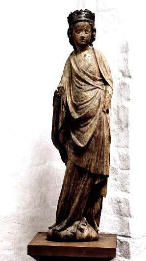 Female crowned saint Falsterbo, region of Skåne, Sweden. Made in north Germany, oak. 1375-1400
