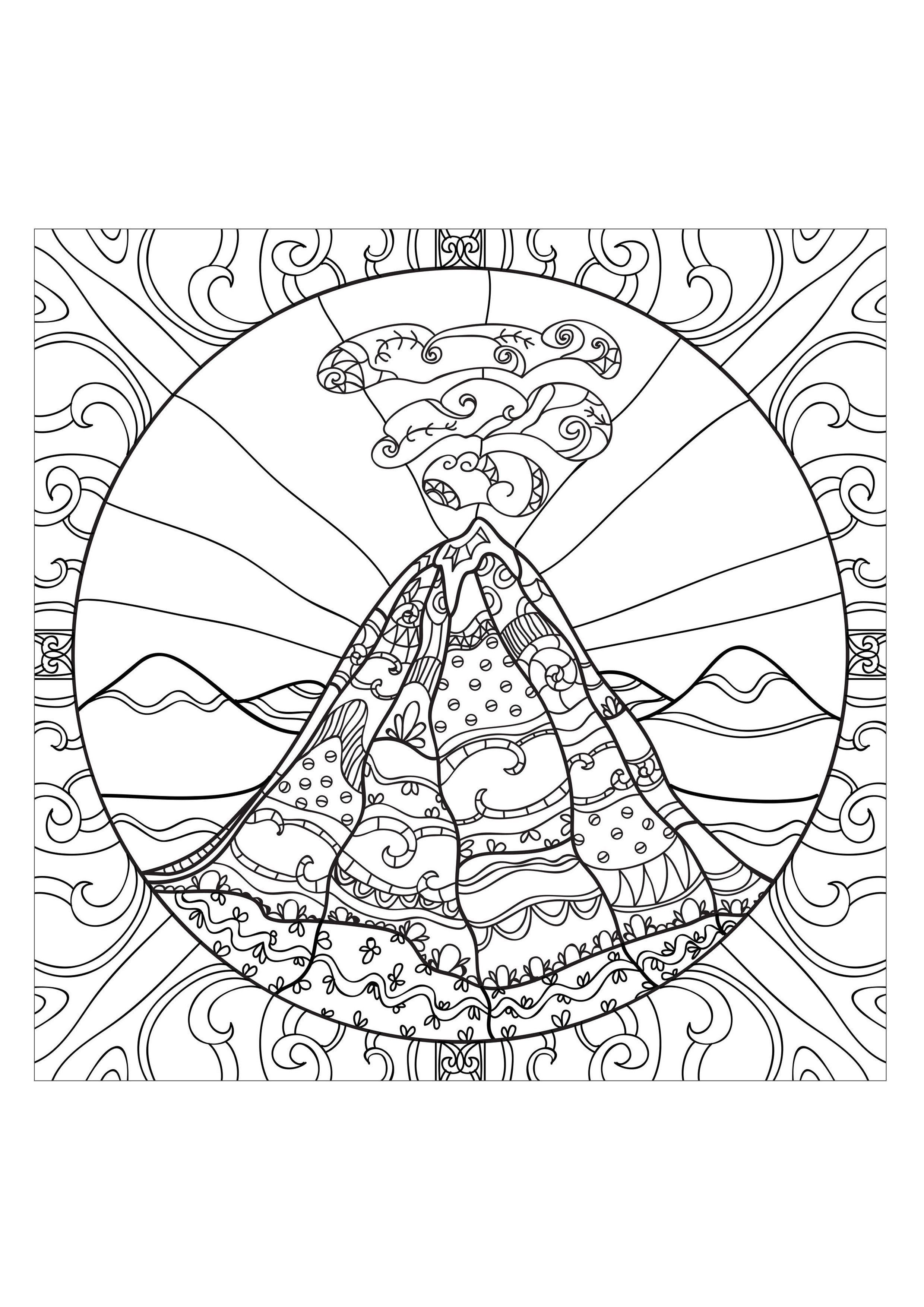 Coloring Page Adults Volcano 2 From The Gallery Zen Anti