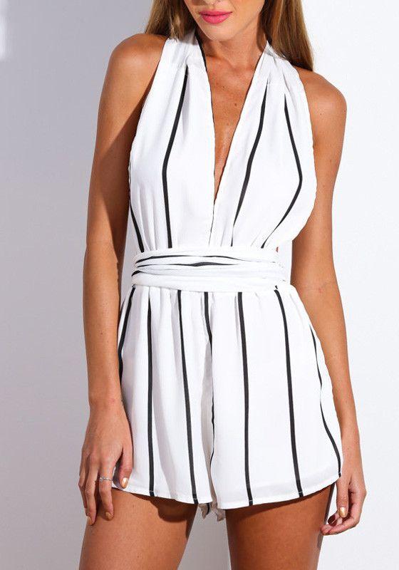 dc66a6d923 White Striped Magic Romper – Lookbook Store