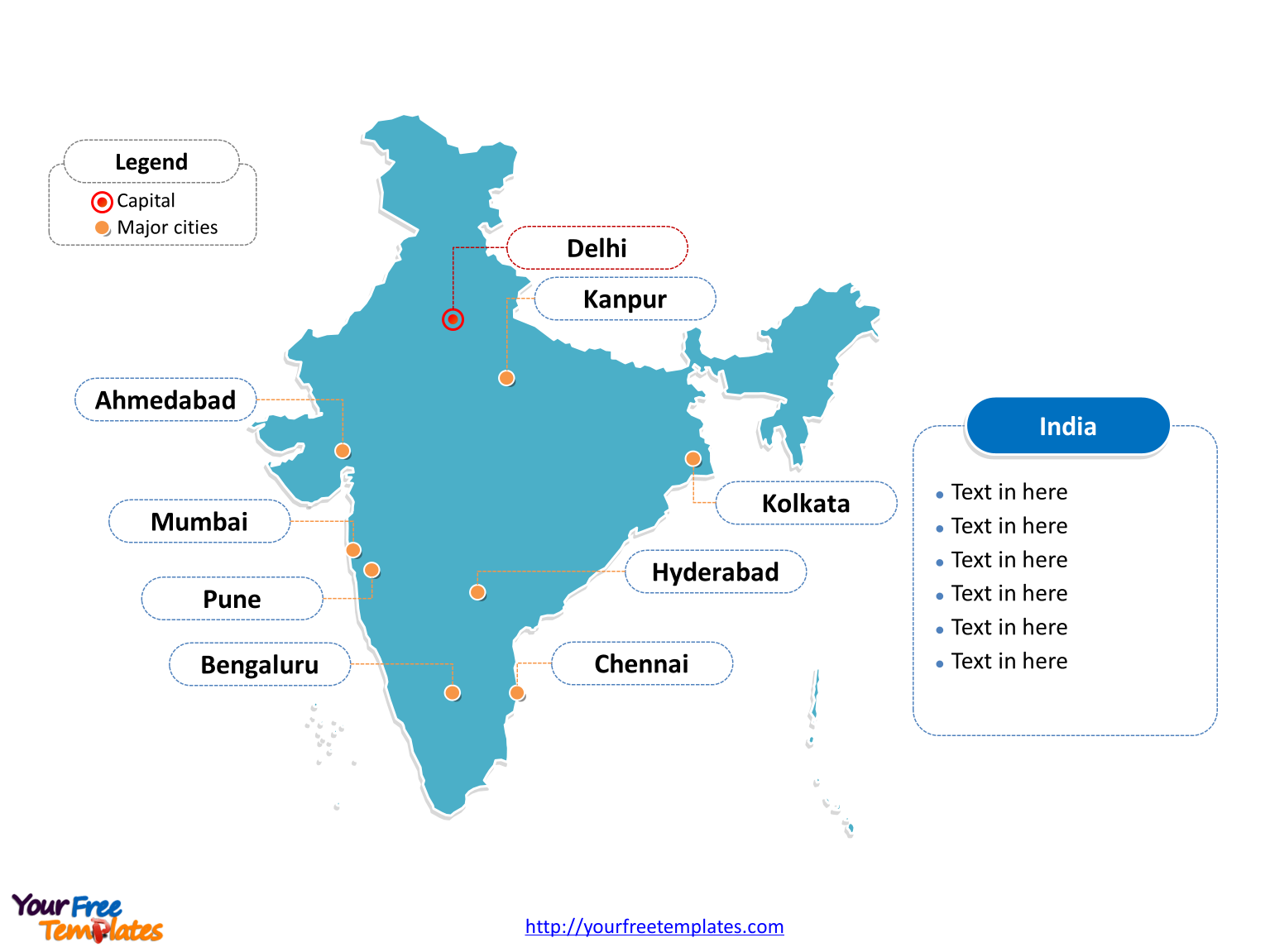 India Editable Map Of Outline Labeled With Cities
