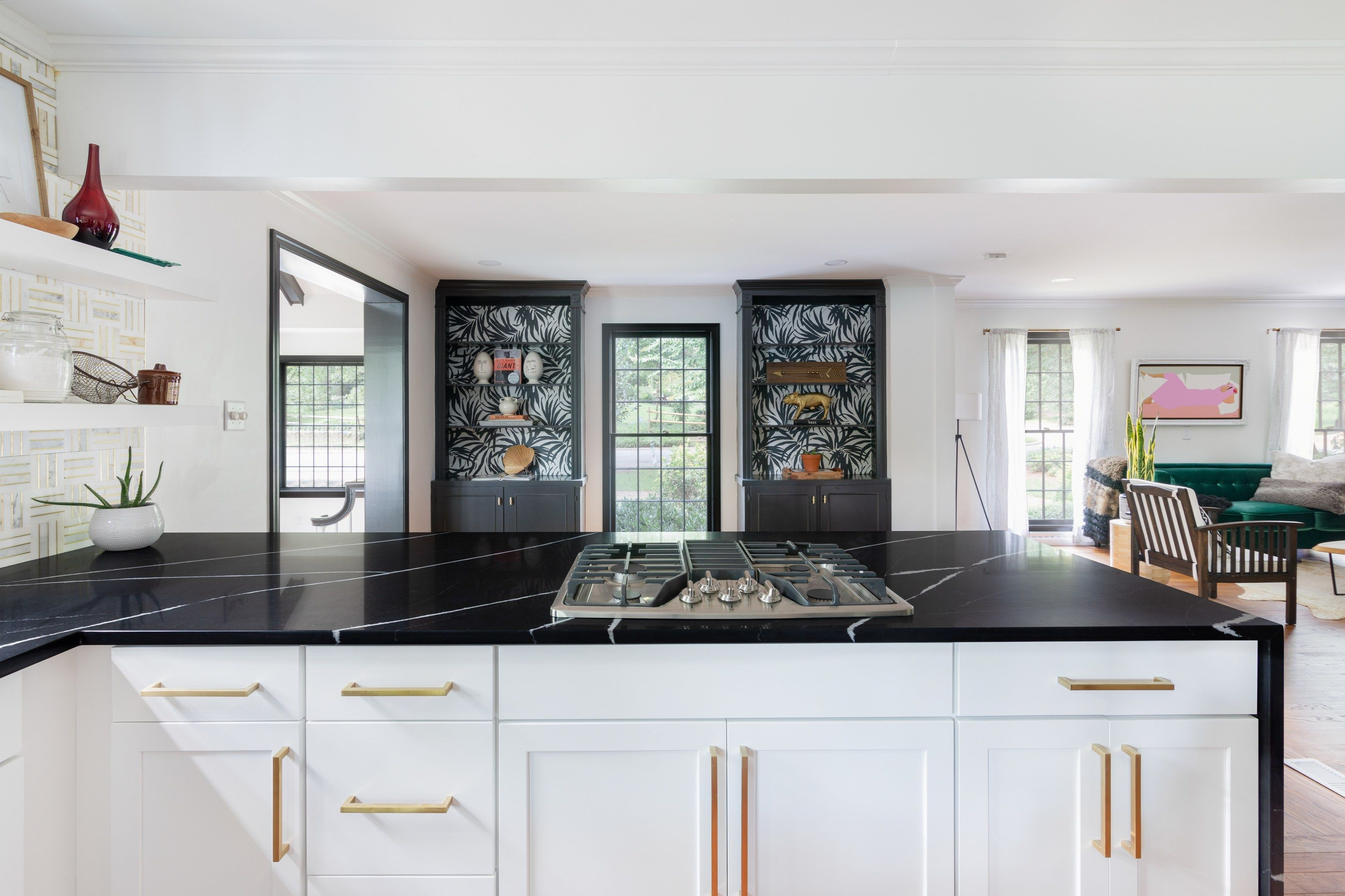 Download Wallpaper Modern White Kitchen Cabinets With Black Countertops