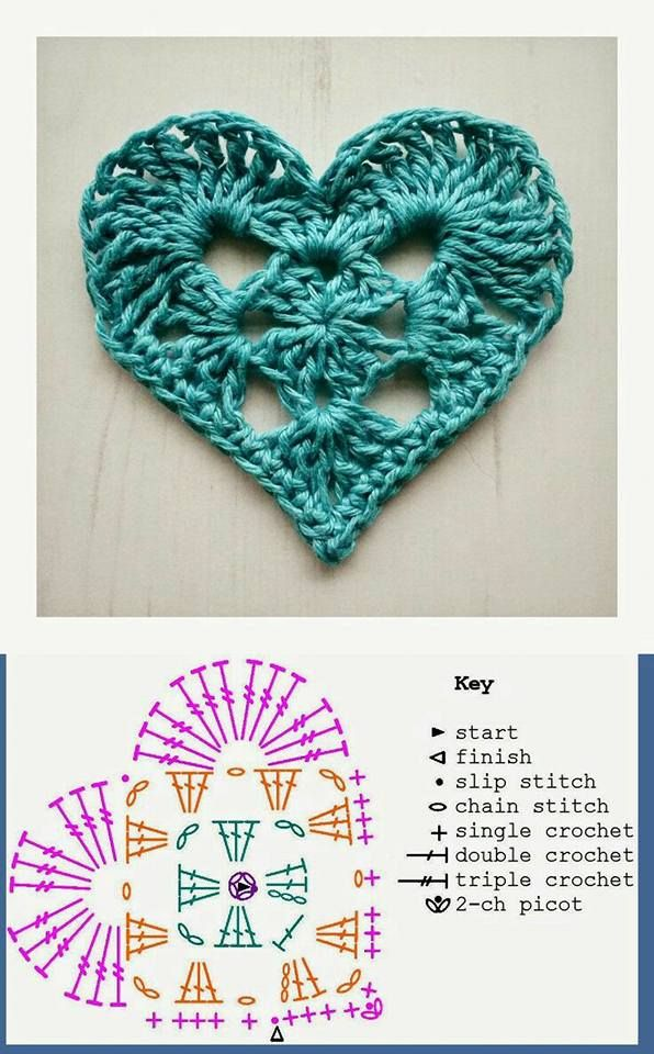 95 Aplicaciones crochet corazón   Aretes   Pinterest   Aplicación ...