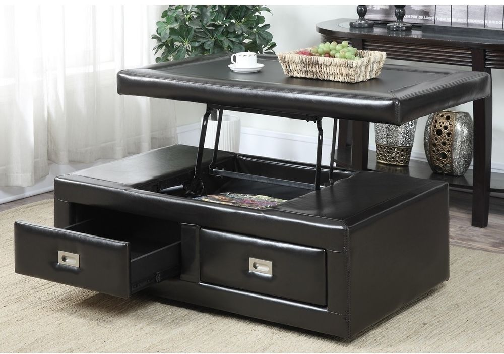 Faux Leather Lift Top Storage Ottoman Coffee Table Tv Table