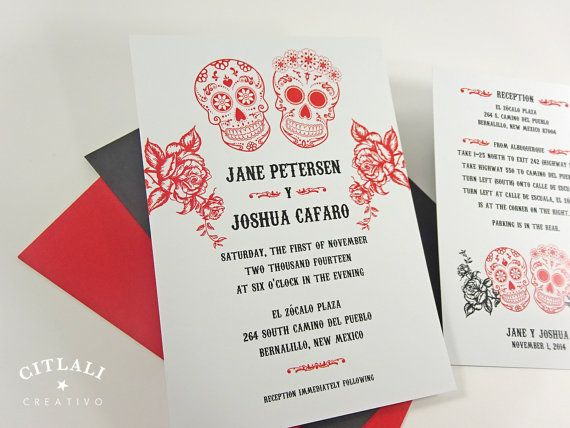 Day of the Dead / Sugar / Candy skull wedding invitations in red and black roses & skulls. This is our matte package with one additional card. Shown