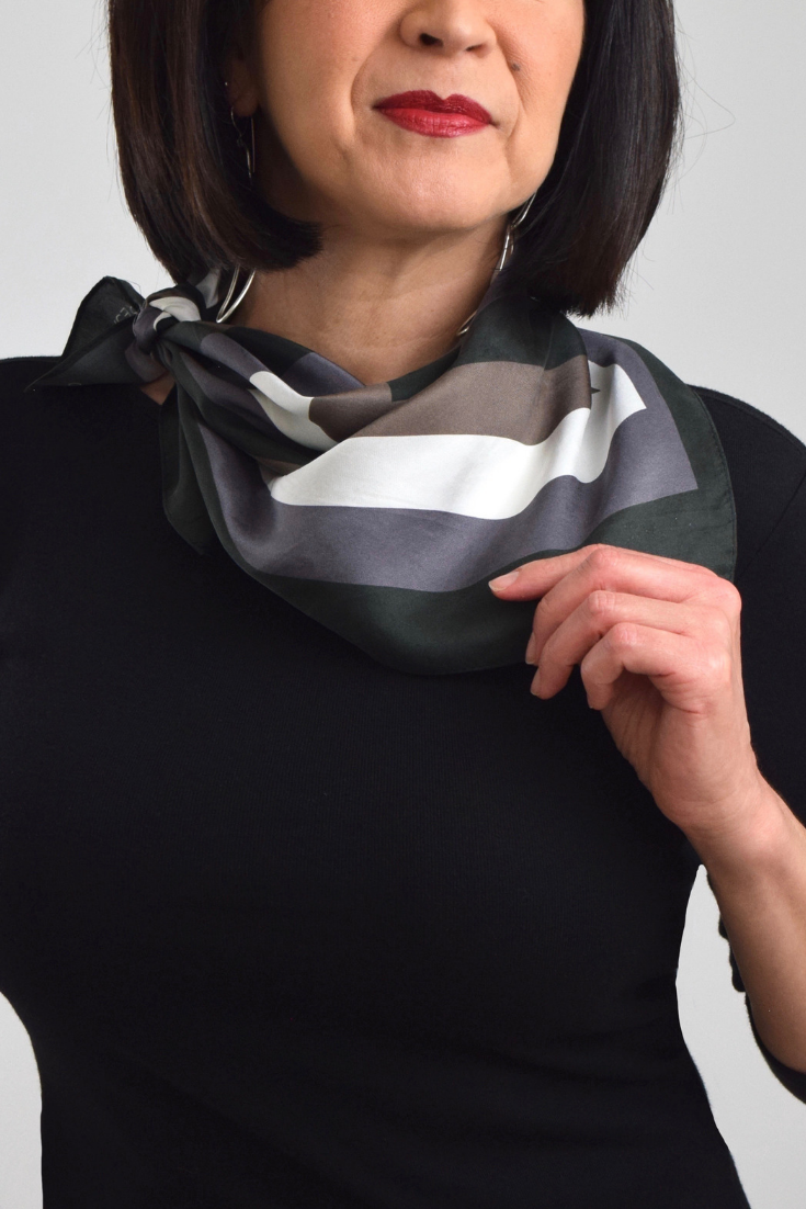 Classic Neckerchief Scarf | Noir Blanc Scarf Collection | Theresa Delgado #travelwardrobesummer #Summer Travel Wardrobe - Trick for Always Looking Elevated #travelwardrobesummer