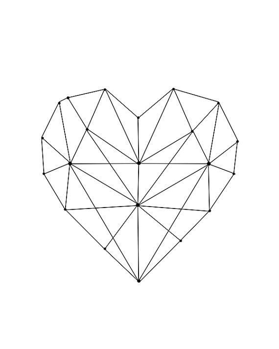 Geometric Heart Printable Wall Art Digital Download Modern
