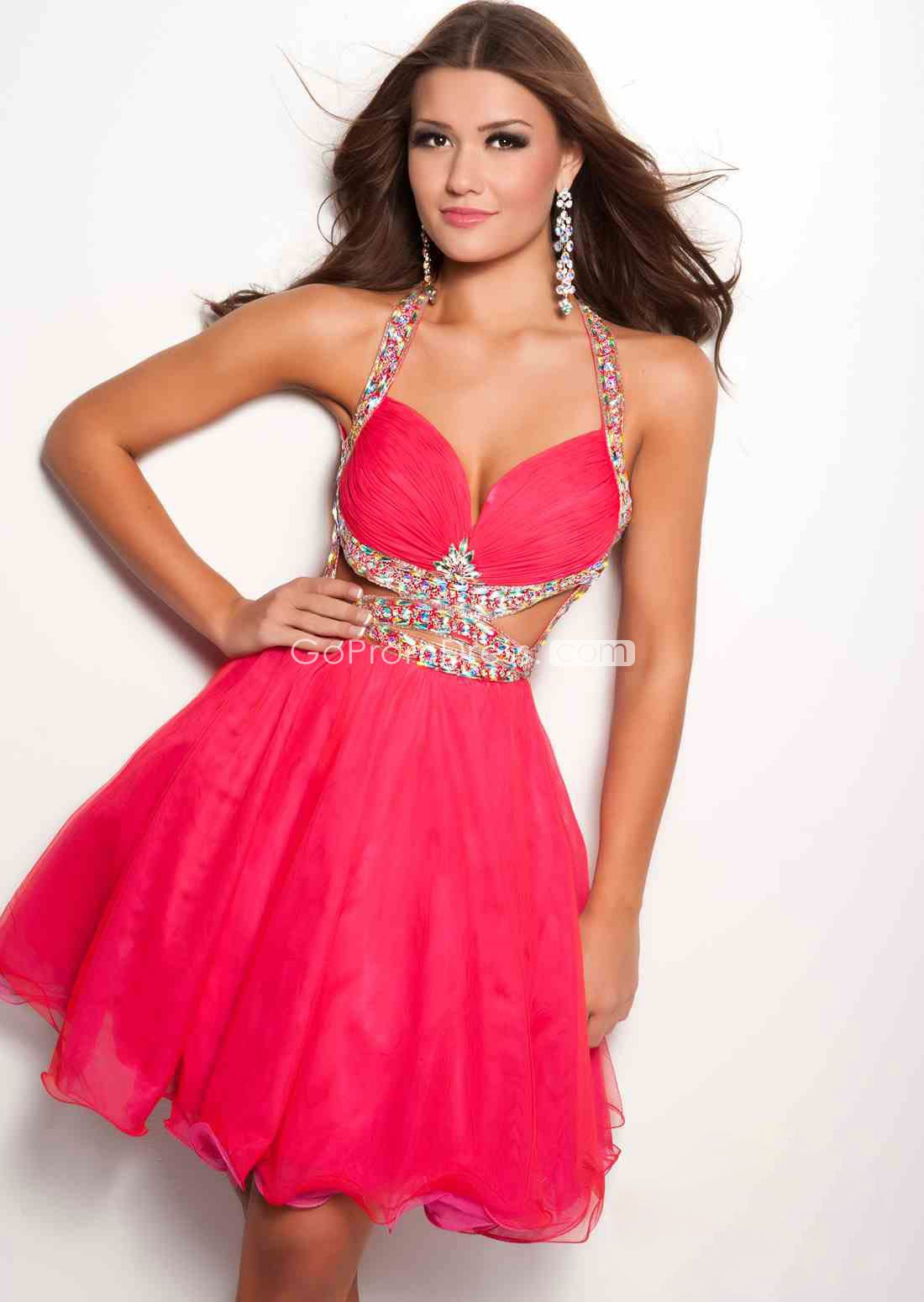 Sexy tulle baby doll beaded halter empire short pink prom dress
