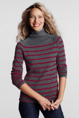 66f6ae37e3f9b Women s Plus Size Stripe Cashmere Funnelneck Sweater from Lands  End ...