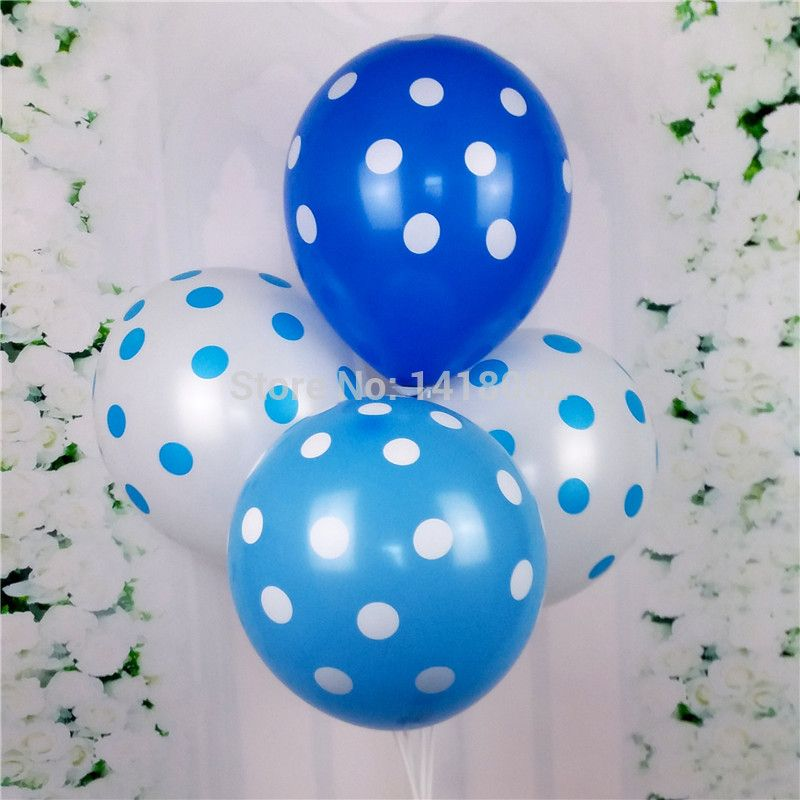30/pcs 12inch Blue wave balloon Three color thickening round