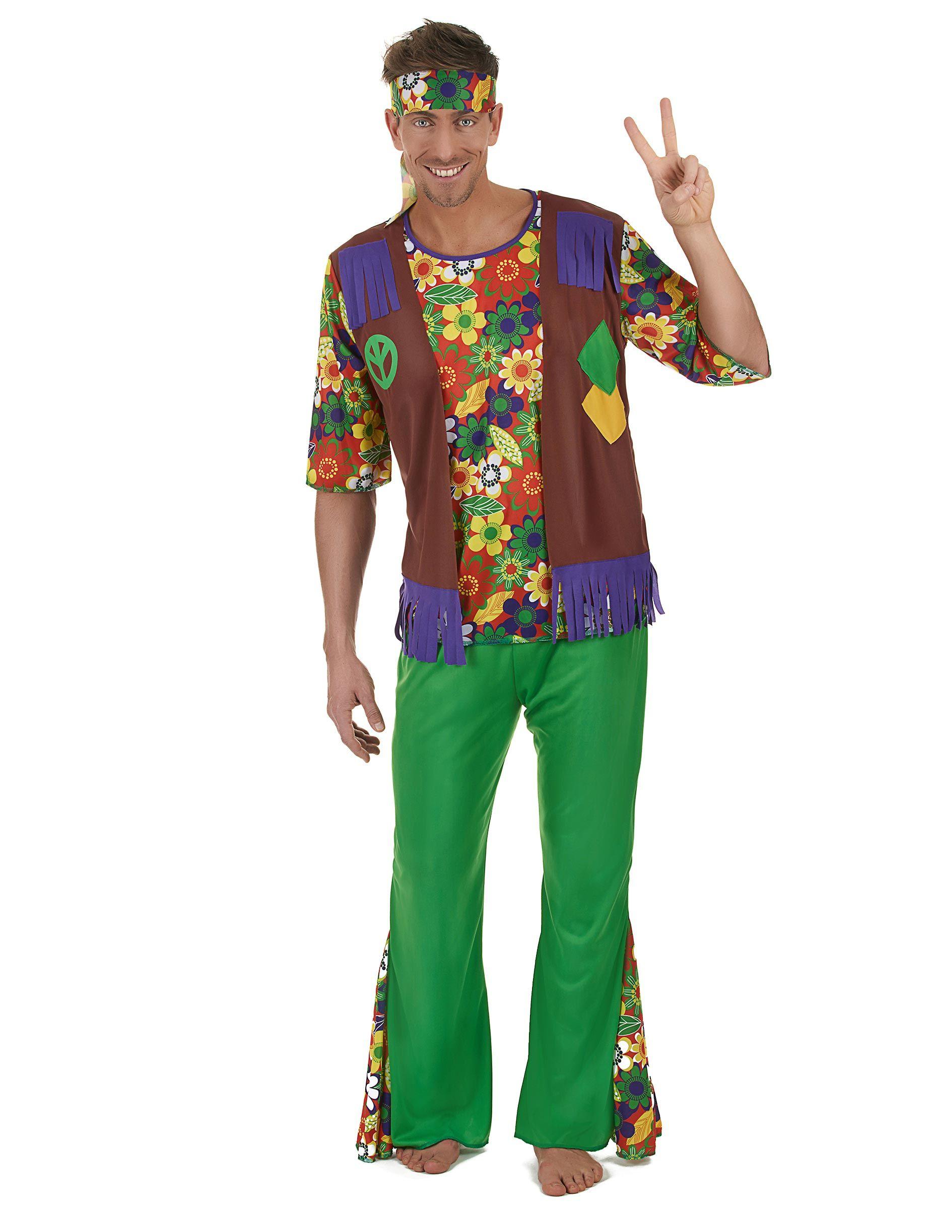 Déguisement Hippie flower power homme   Ce déguisement de hippie pour  adulte comprend un tee- a4efc6f1428c