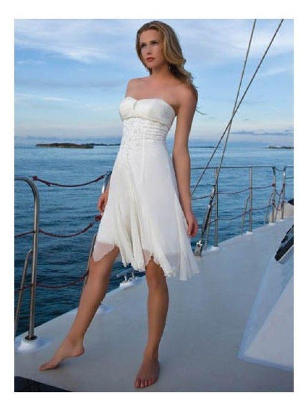 Strapless Tea Length Informal Wedding Dress White Fabric: soft satin ...