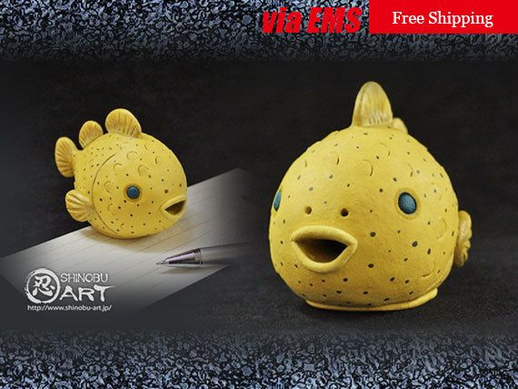 ceramic paperweight ceramic balloon lumpfish yellow desk