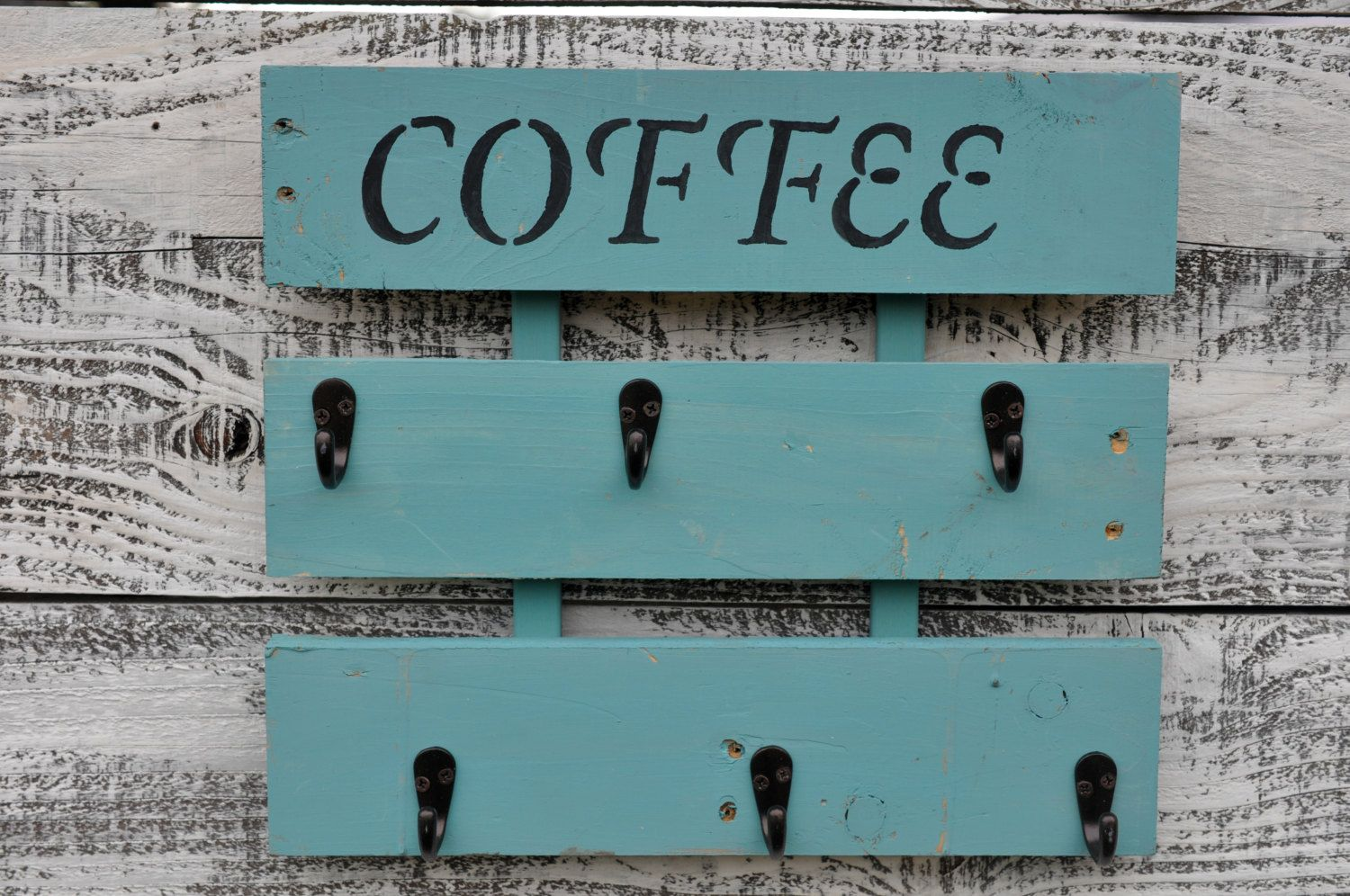 Coffee Cup Holder, Rustic Coffee Cup Rack, Kitchen Coffee Mug Holder, Wall  Hanging