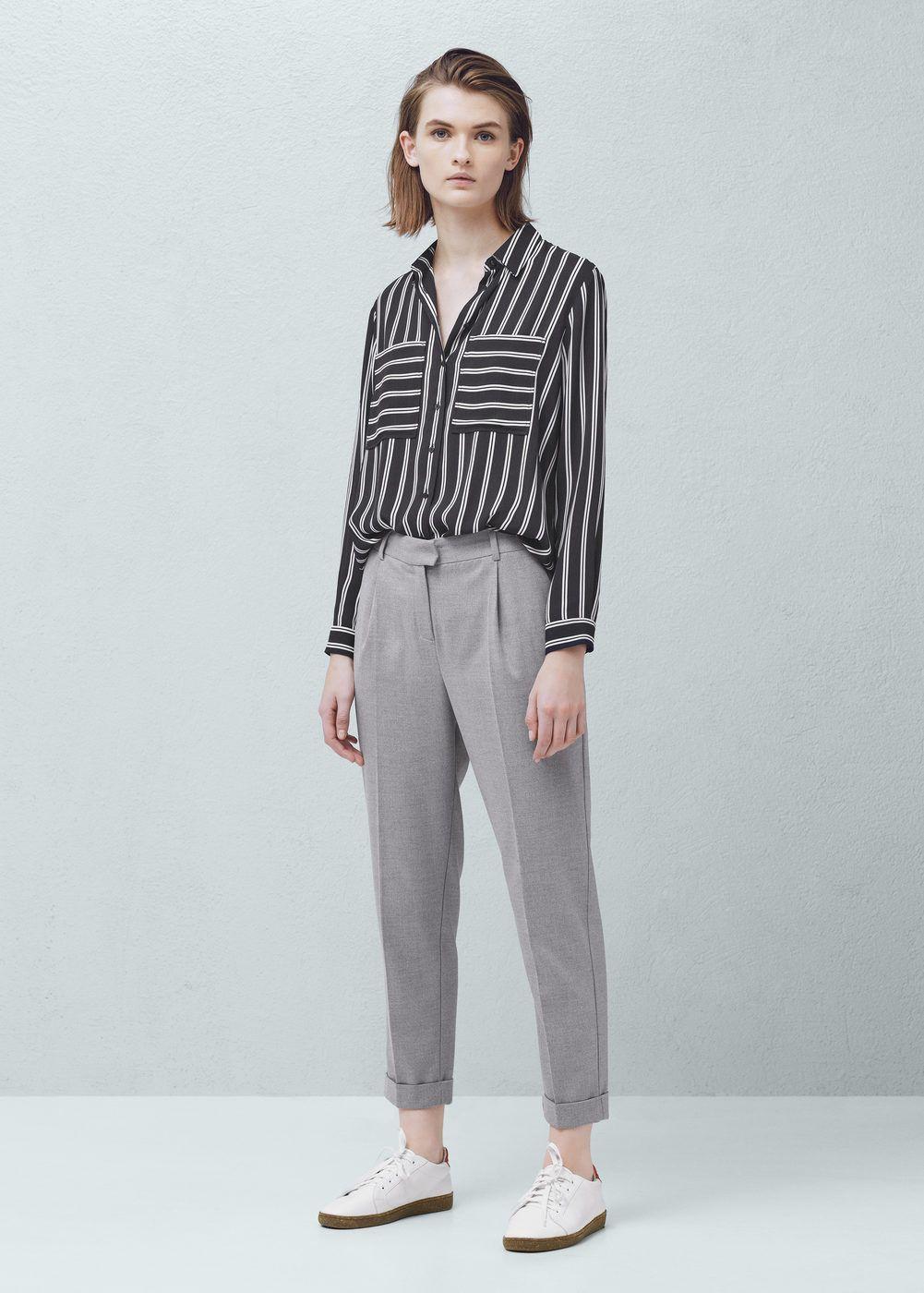 00b206c5bcdb8 Pantalón traje pinzas - Pantalones de Mujer