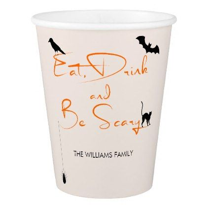Eat Drink and Be Scary Halloween Paper Cup - minimal gifts style - halloween template