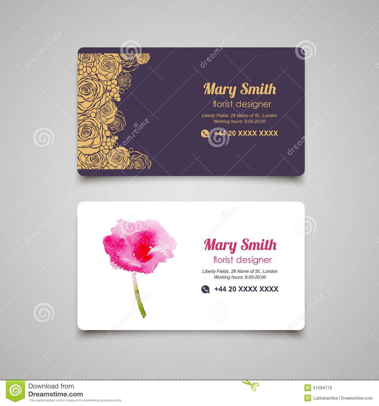 Florist business card vector design templates set 51594779 for Flower business cards